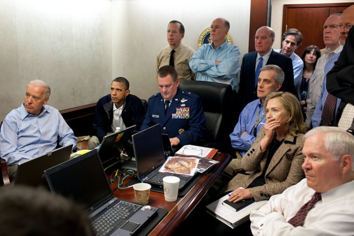 President Barack Obama (second from left), Vice President Joe Biden, Secretary of State Hillary Clinton and other members of the national security team watch the Osama bin Laden raid in the Situation Room at the White House on May 1, 2011. Photo via Getty Images