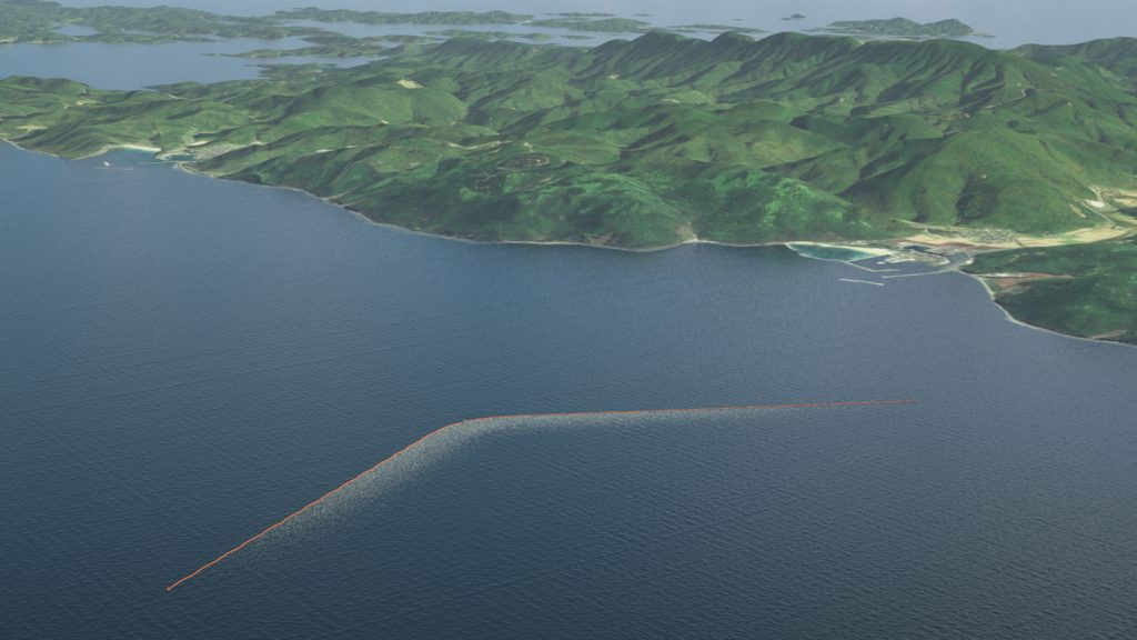 An artist's impression of the final 100-kilometer-long barrier that will be placed in the middle of the Pacific Gyre. Photo by The Ocean Cleanup