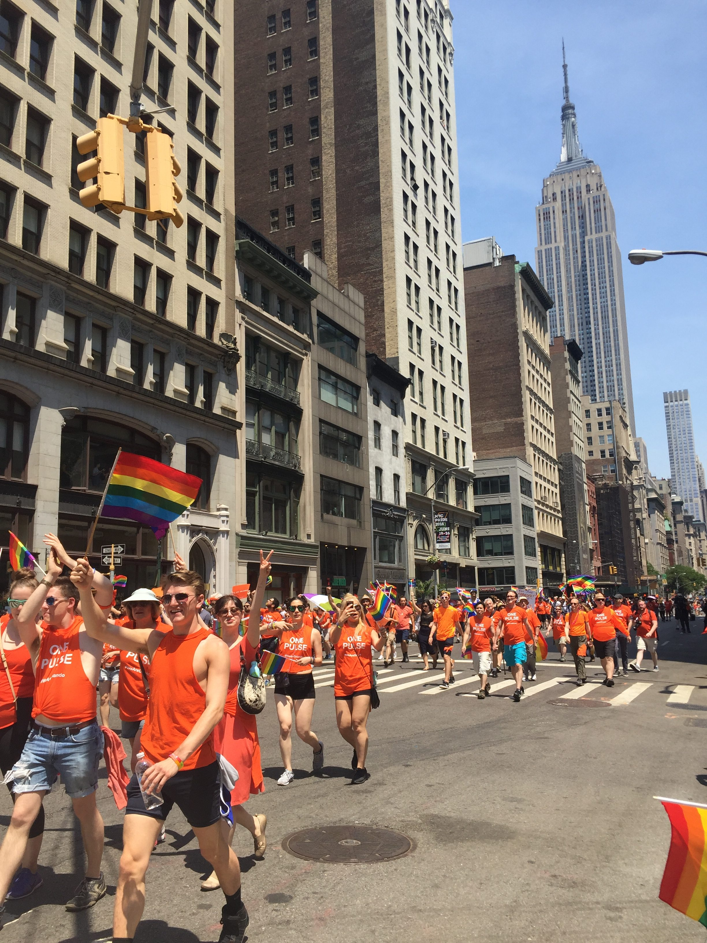 Marchers paid tribute to the 49 clubgoers killed at Pulse Nightclub at the Pride March in New York on Sunday, June 26. Photo by Omar Etman/PBS NewsHour Weekend