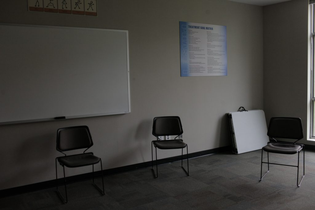 A treatment room in Minnesota's Sex Offender Program sits empty. Photo by Abbey Oldham.
