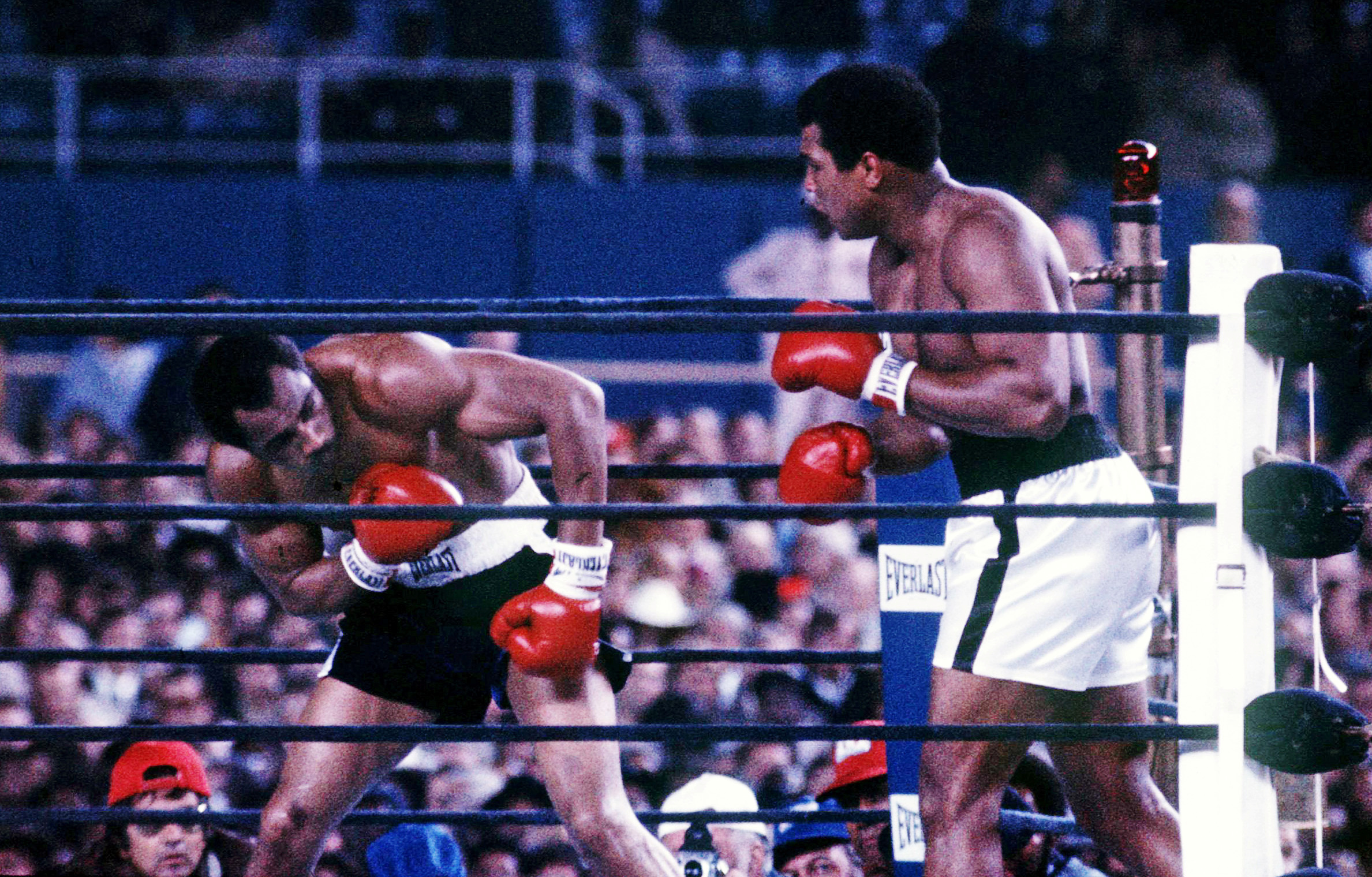 Muhammad Ali (right) fights Ken Norton at Yankee Stadium in the third fight between the two heavyweights in New York City on Sept. 28, 1976. File photo by Action Images/MSI via Reuters