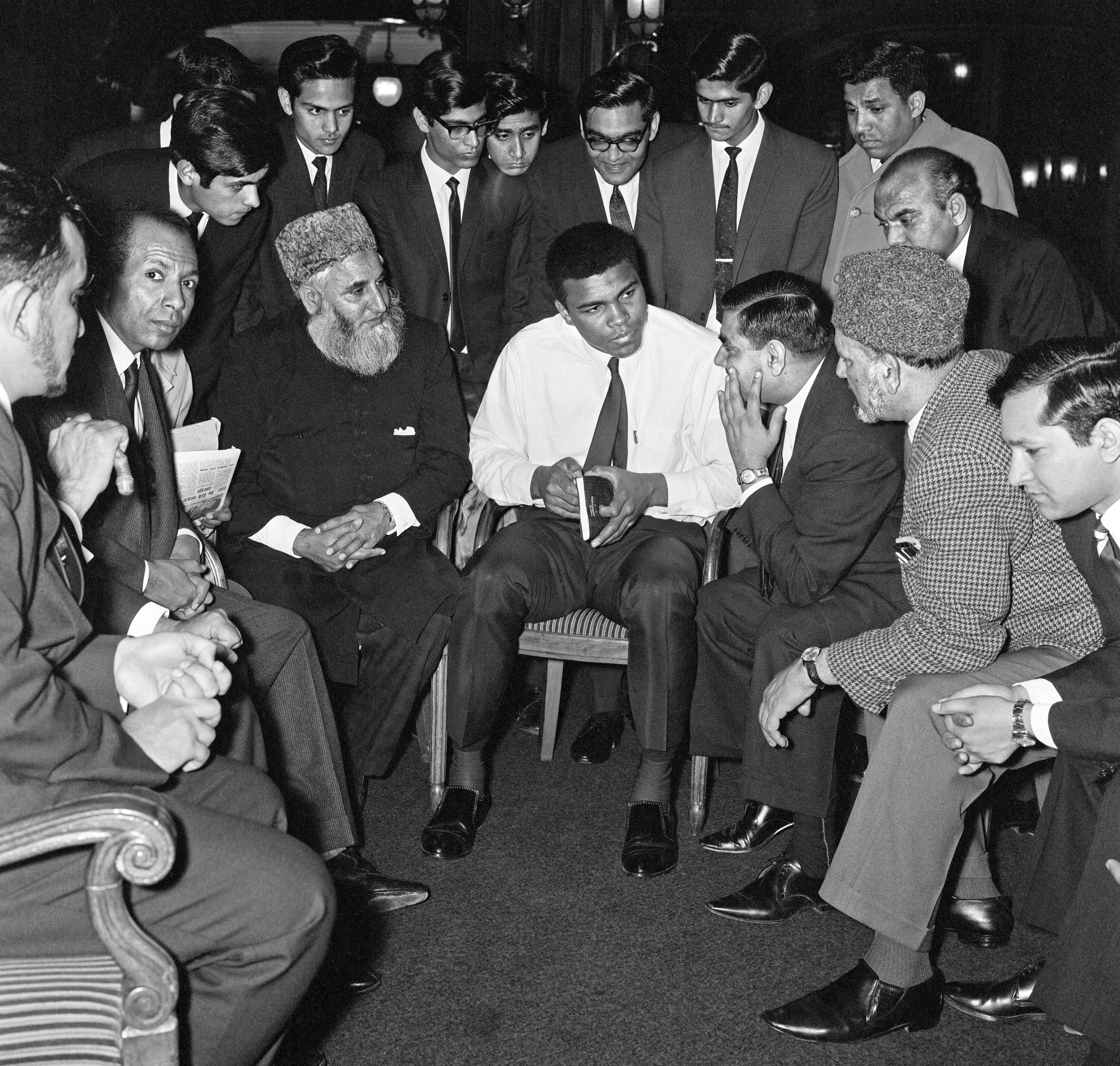 Muhammad Ali, who changed his name when he converted to the Nation of Islam, speaks to Muslims in London in May 1966. File photo by Action Images/MSI via Reuters