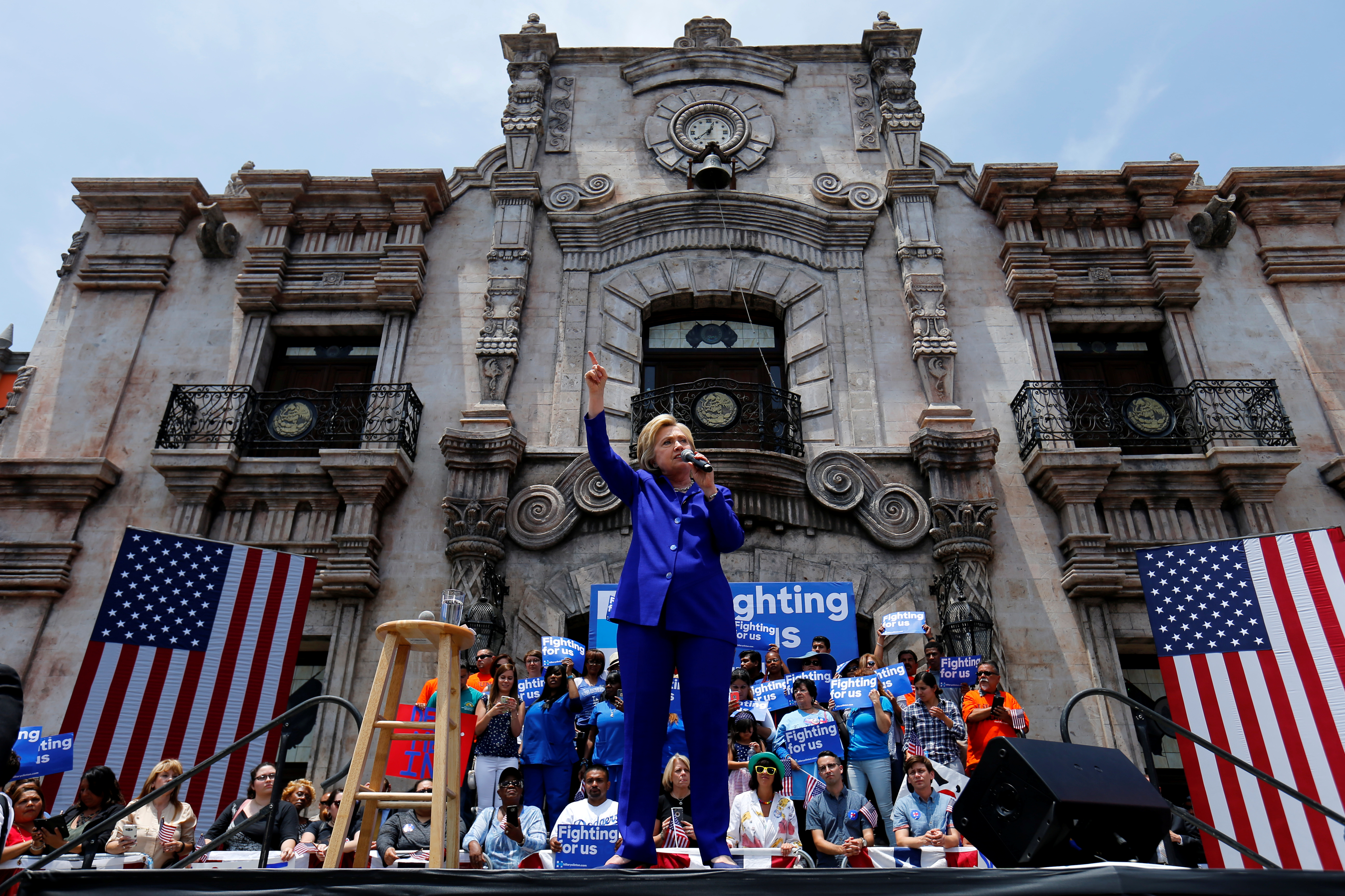 Hillary Clinton addresses the crowd during a campaign stop in Lynwood, California. Photo by Mike Blake/Reuters