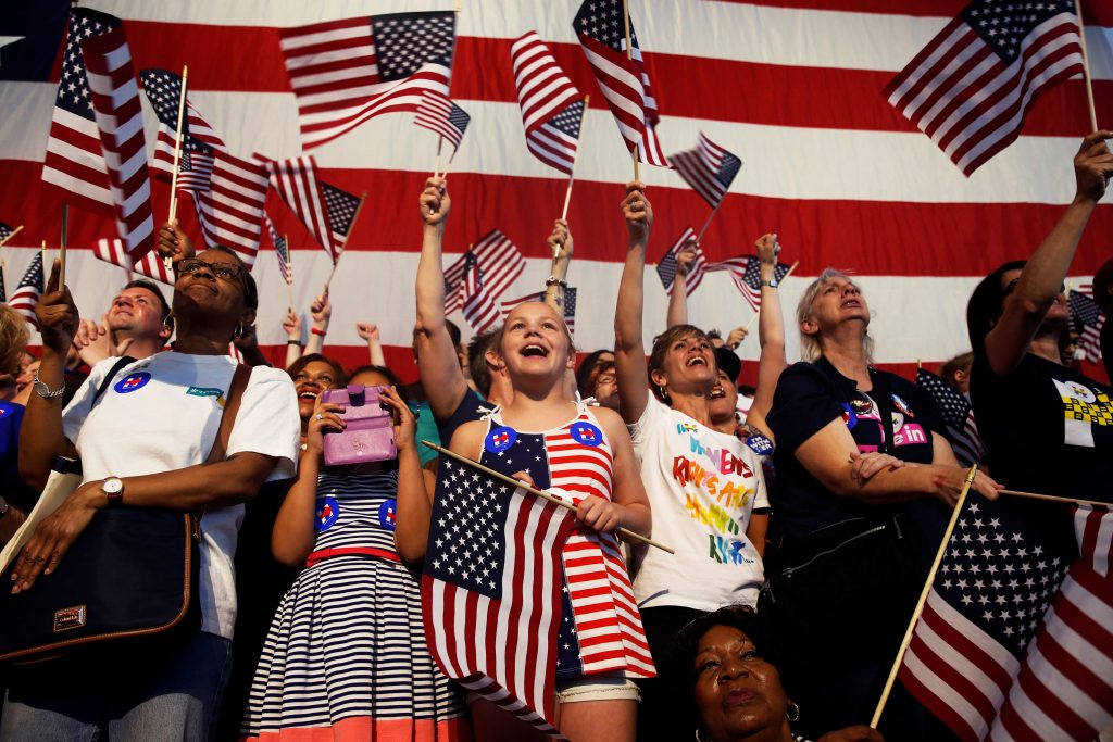 Supporters of Democratic U.S. presidential candidate Hillary Clinton cheer during her California primary night rally held ...