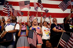 Supporters of Democratic U.S. presidential candidate Hillary Clinton cheer during her California primary night rally held in the Brooklyn borough of New York, U.S., June 7, 2016. Photo by Shannon Stapleton/REUTERS