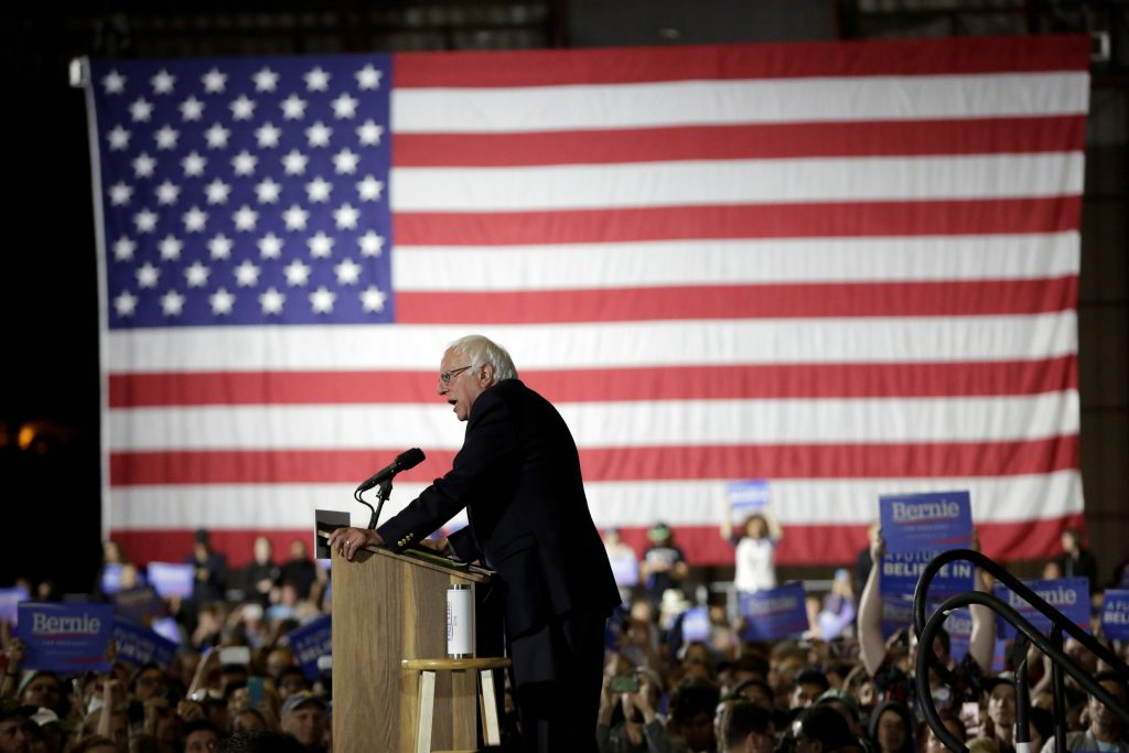 Democratic presidential candidate Bernie Sanders speaks during an election night rally in Santa Monica, California. Photo by Jason Redmond/Reuters