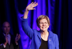 Sen. Elizabeth Warren waves at the 2015 Good Jobs, Green Jobs Conference in Washington, D.C. Photo by Yuri Gripas/Reuters