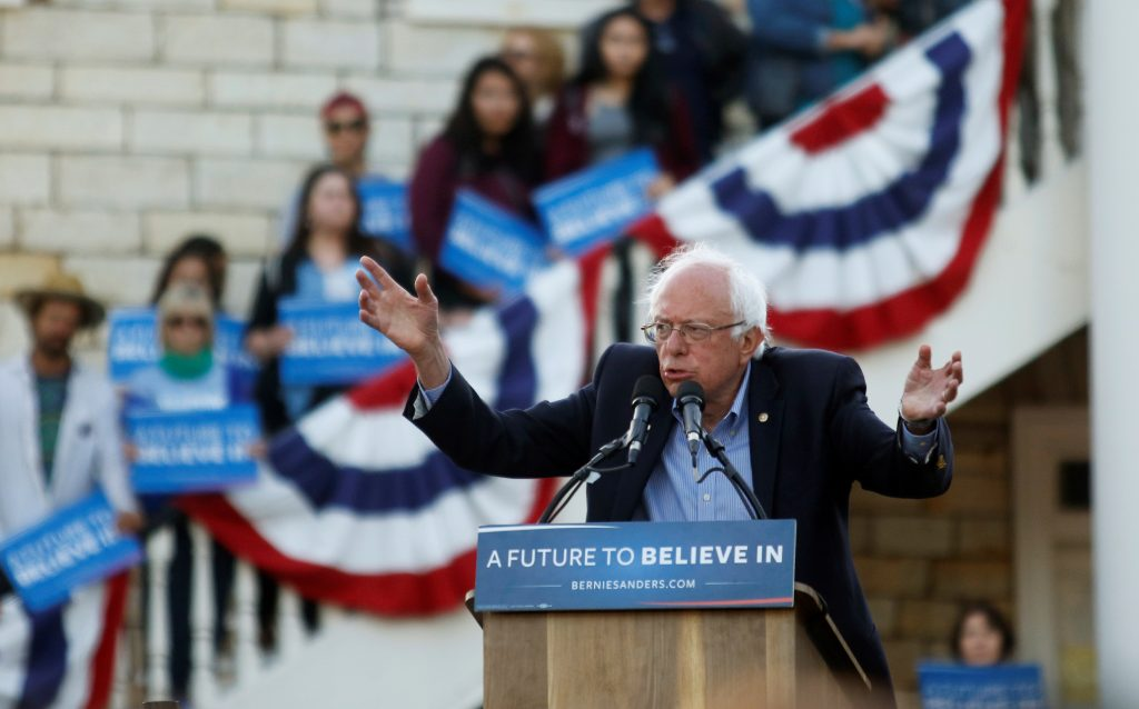 Democratic presidential candidate Bernie Sanders speaks during a campaign rally at Colton Hall in Monterey, California on May 31. Photo by Michael Fiala/Reuters