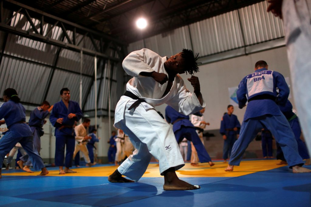 Popole Misenga, a refugee from the Democratic Republic of Congo and a judo athlete, trains during a session at the Reacao Institute in Rio de Janeiro, Brazil, June 1, 2016. Photo by Pilar Olivares/REUTERS