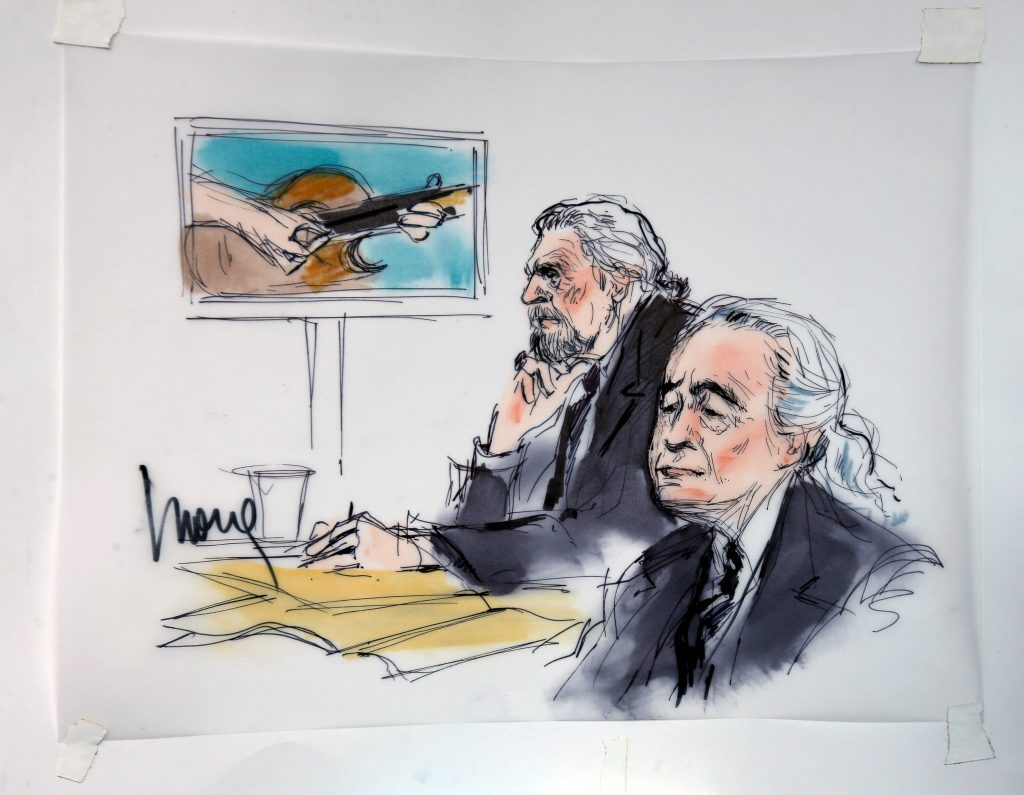 """Led Zeppelin singer Robert Plant (left) and guitarist Jimmy Page are shown sitting in federal court for a hearing in a lawsuit involving their rock classic song """"Stairway to Heaven"""" in this courtroom sketch in Los Angeles, California June 14, 2016. Photo by Mona Edwards/REUTERS"""
