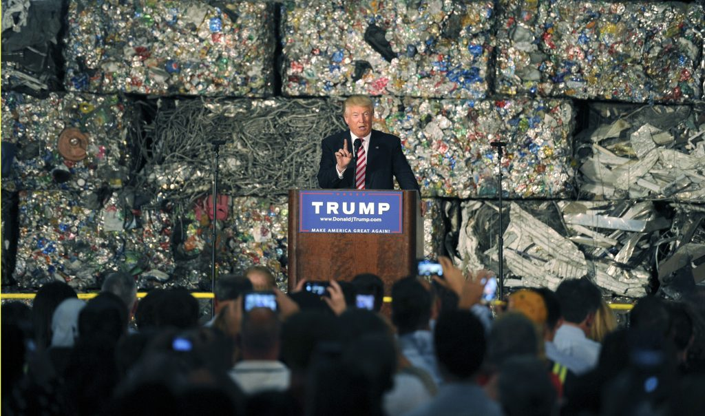 Republican presidential candidate Donald Trump delivers a speech at the Alumisourse Building in Monessen, Pennsylvania. Photo by Louis Ruediger/Reuters