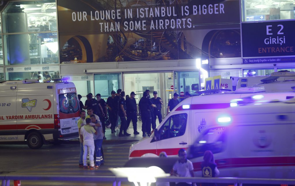 Ambulance cars arrive at Turkey's largest airport, Istanbul Ataturk, Turkey, following a blast June 28, 2016. Photo by Osman Orsal/REUTERS