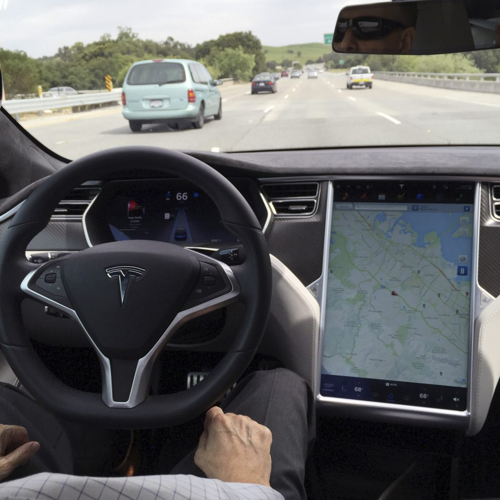 The interior of a Tesla Model S is shown in autopilot mode in San Francisco, California, U.S., April 7, 2016. Photo by   Alexandria Sage/REUTERS