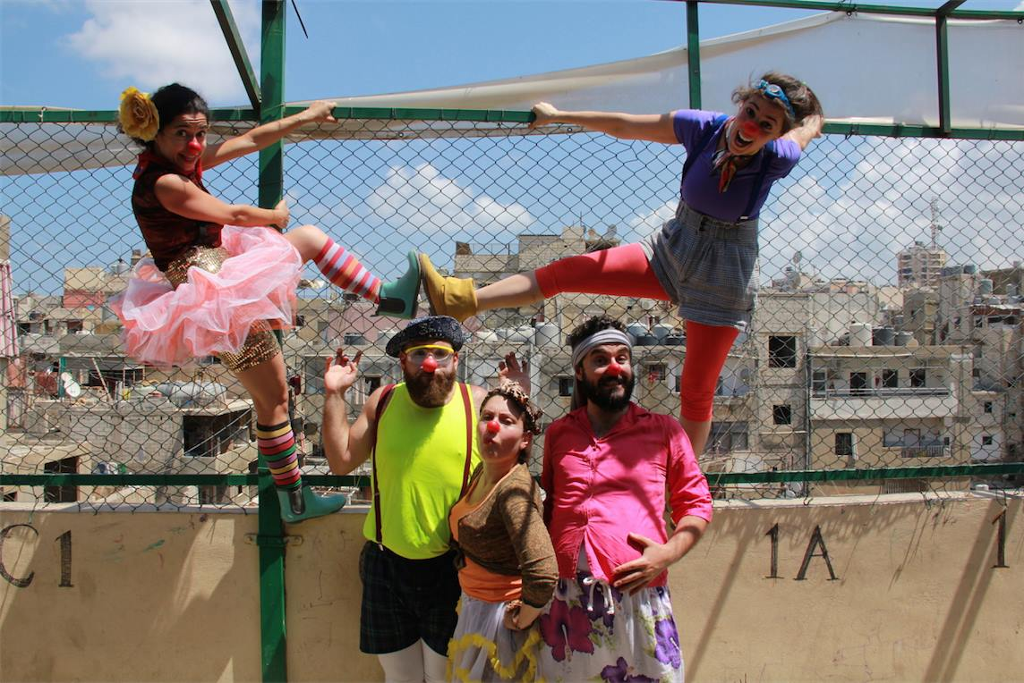 Clown Me In appears at the Basmeh & Zeitooneh community center in Shatila, a Palestinian refugee camp in Lebanon. Photo by Jean-Sébastien Lòpez