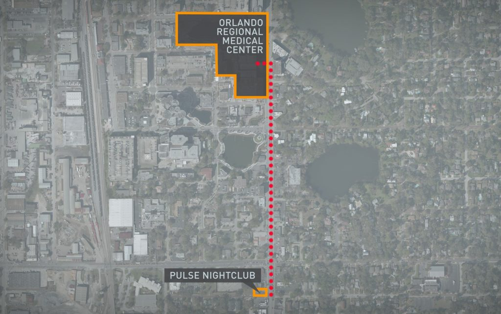 "Harper said Pulse nightclub's close proximity to Orlando Regional Medical Center was ""fortuitous,"" allowing EMS workers to transport victims as quickly as possible. Graphic by Lisa Overton/NewsHour Weekend"