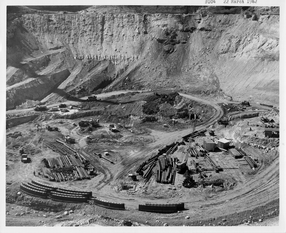Construction of the Arecibo Radio Telescope ran from 1960 to 1963. Here is the site on March 22, 1962. Photo courtesy of the NAIC - Arecibo Observatory, a facility of the NSF