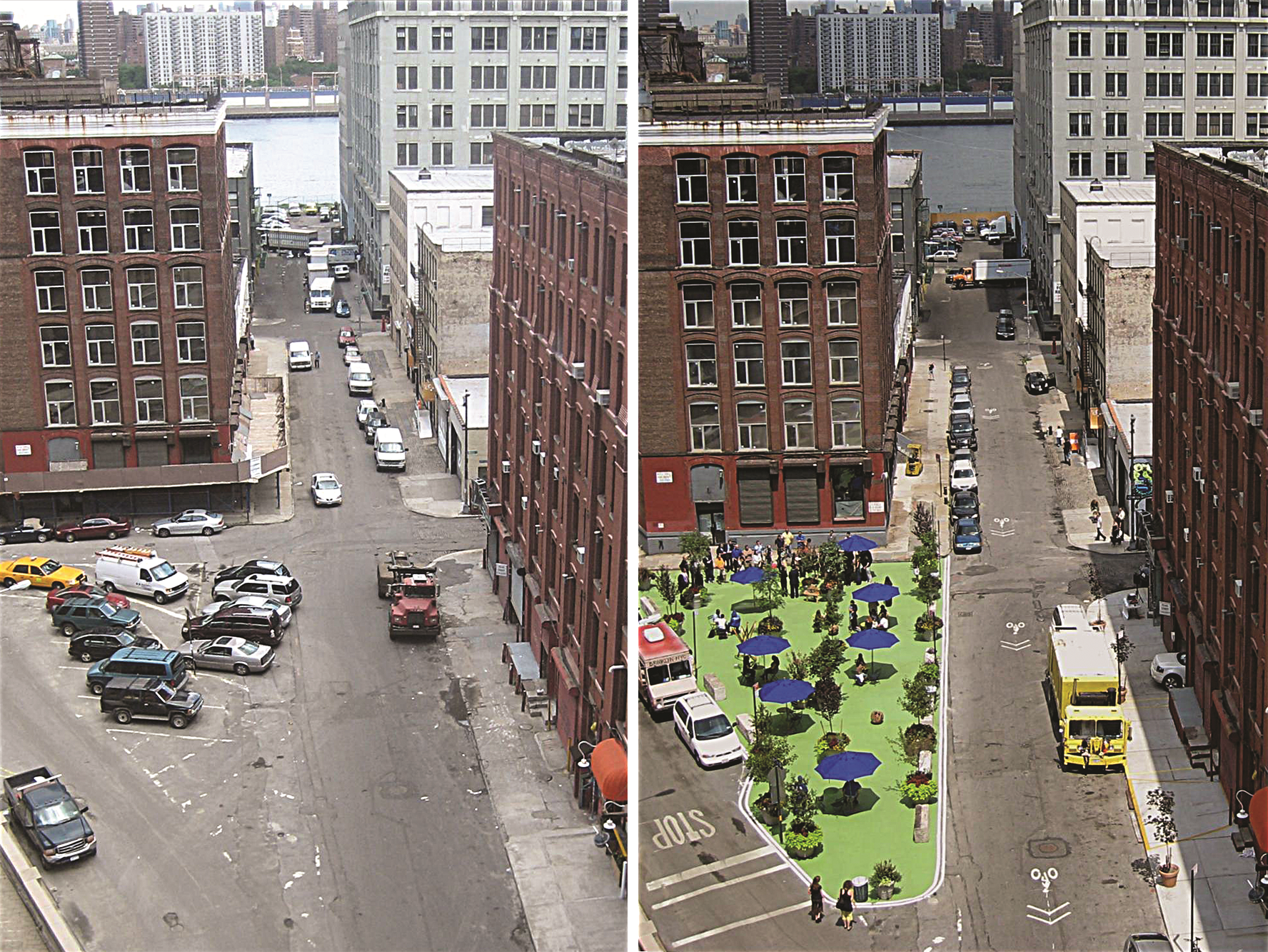 Brooklyn's Pearl Street Plaza appears before and after redevelopment. Photo by Ryan Russo/NYC DOT