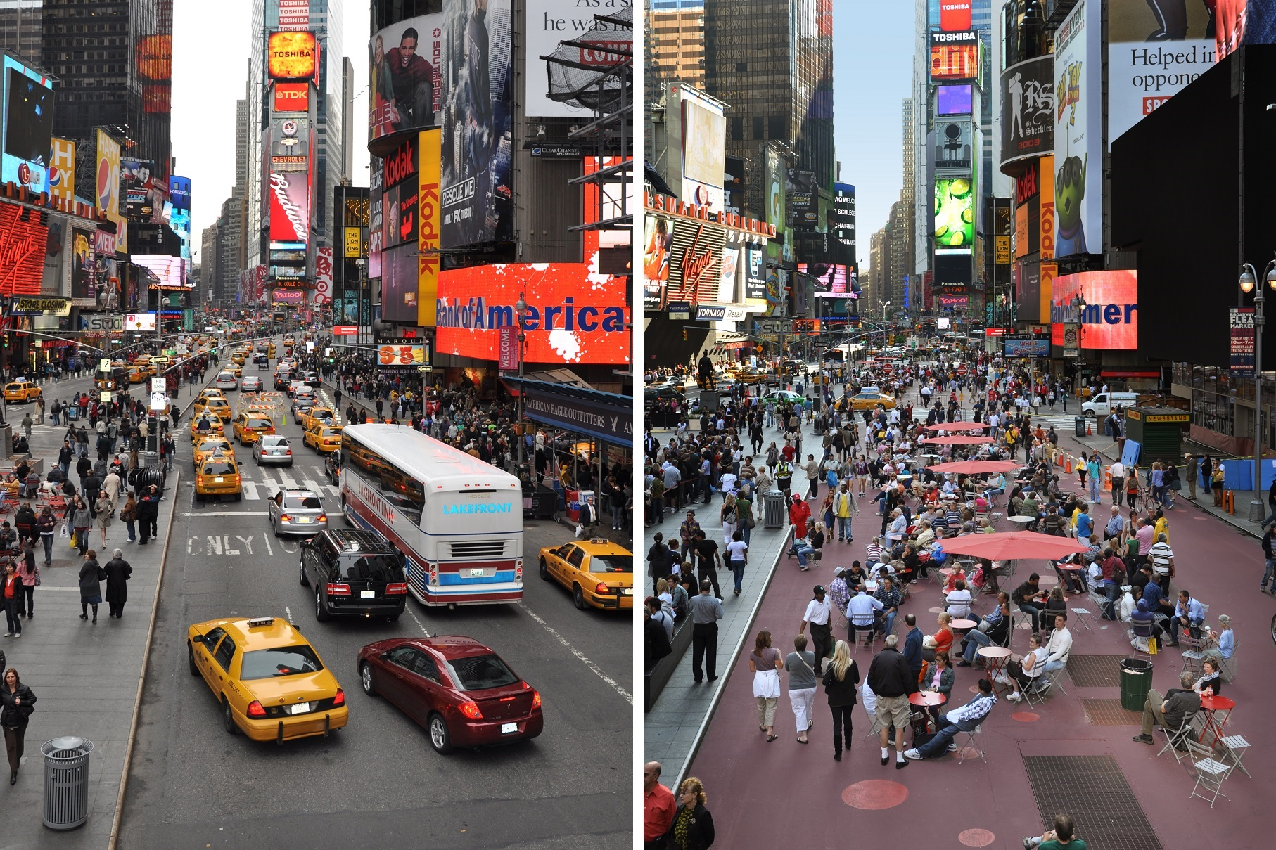 Left: Photo by Heidi Wolf/NYC DOT, right: Photo by Julio Palleiro/NYC DOT