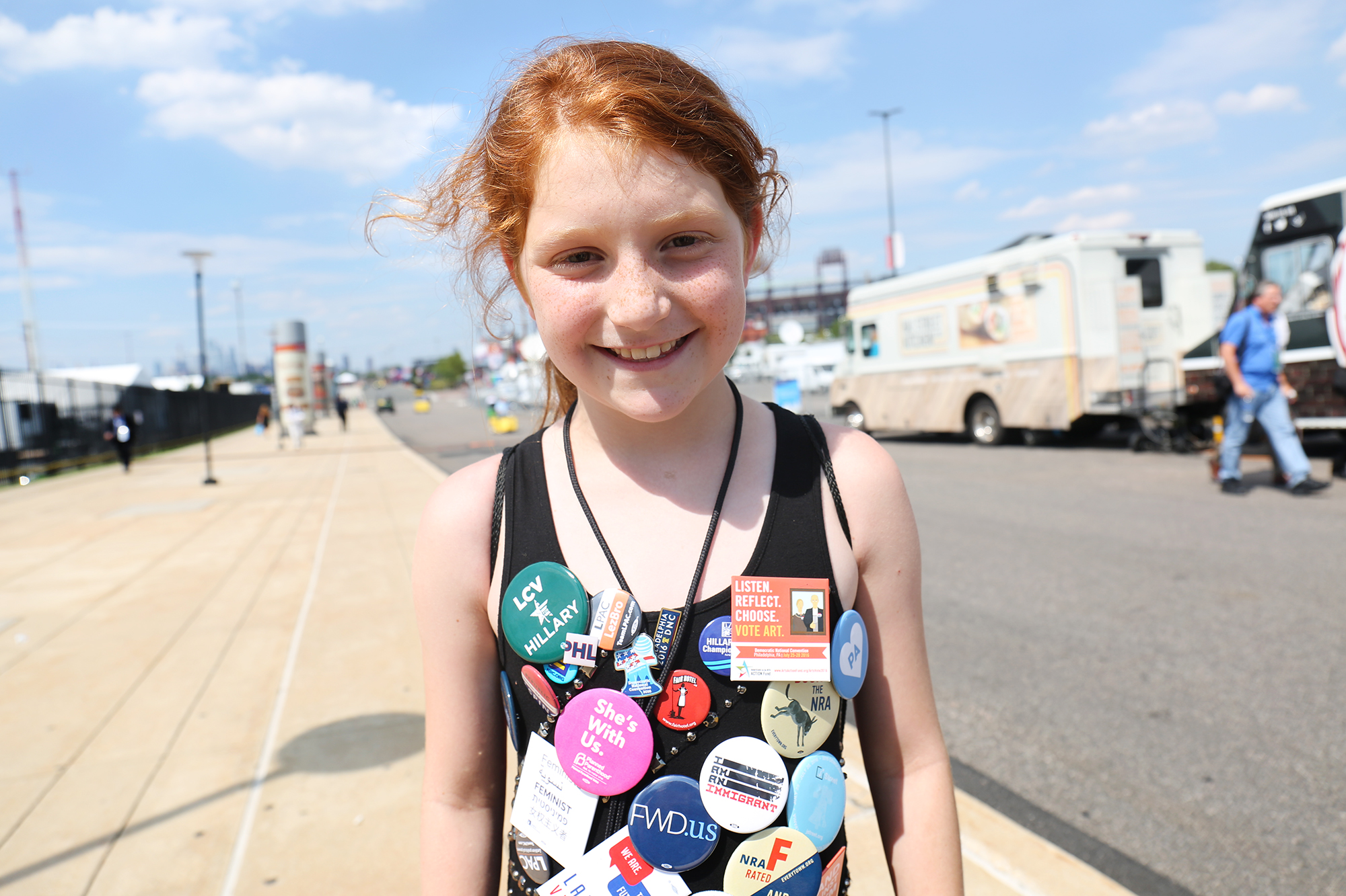 Liza Greenberg, 9, is a Hillary Clinton supporter from New York. Photo by Abbey Oldham