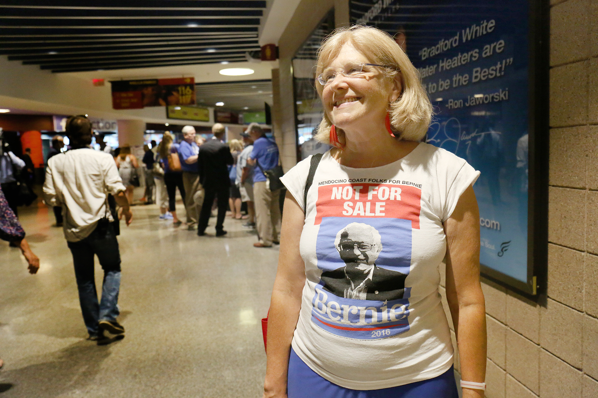 Ava Kennedy, 64, is a California delegate, a technical recruiter and a Bernie Sanders supporter. Photo by Abbey Oldham