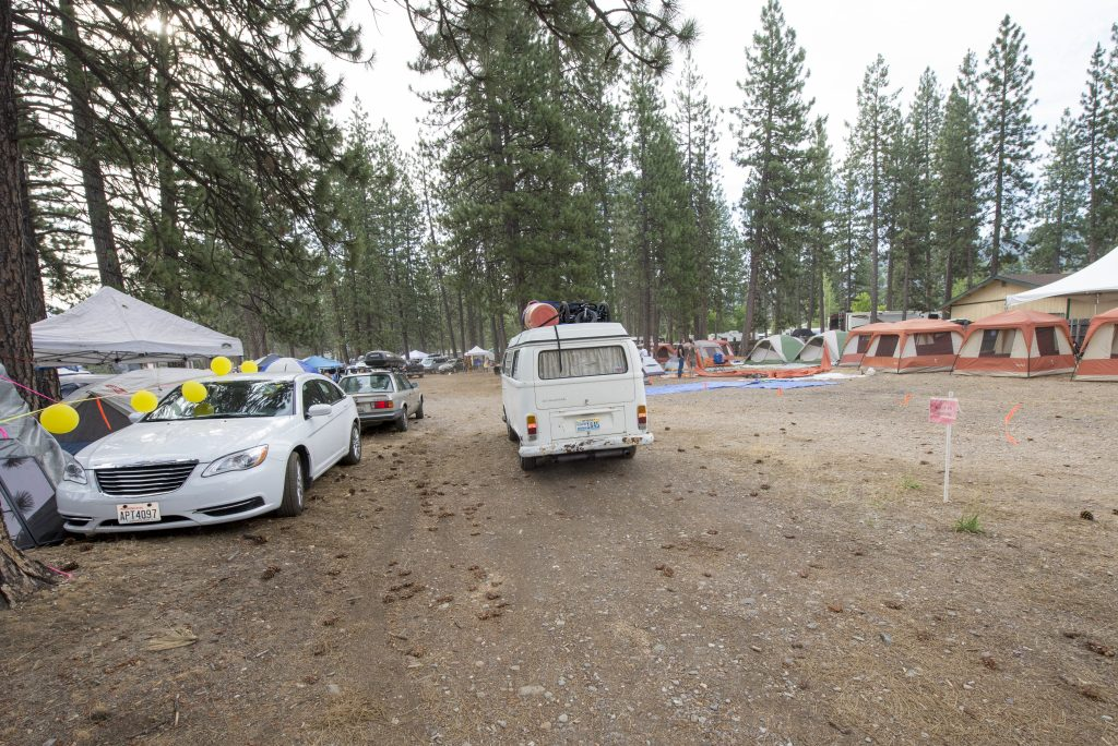 A van drives by Camp Traction, the sober camp site at High Sierra Music Festival. Photo by Stuart Levine/High Sierra