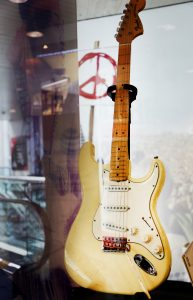 The guitar JImi Hendrix used to play the national anthem at the Woodstock music festival. Photo by Abbey Oldham