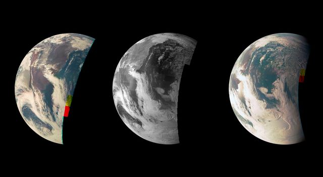 Views of Earth from JunoCam during the Earth flyby gravity assist maneuver in Oct. 2013. Photo by NASA/JPL-Caltech/MSSS