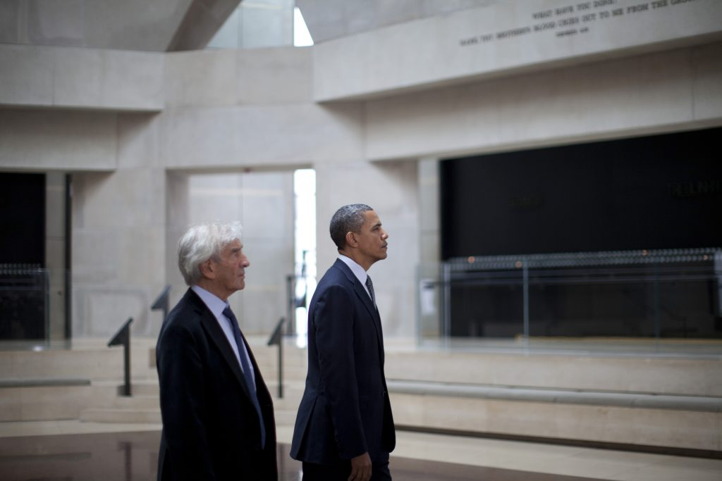 U.S. President Barack Obama and Nobel Laureate and Holocaust survivor Elie Wiesel visit the Remembrance Hall at the United States Holocaust Museum in Washington, April 23, 2012. Obama also delivered remarks on future holocaust prevention at the museum.