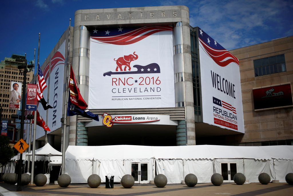 The Quicken Loans Arena is seen as setup continues in advance of the Republican National Convention in Cleveland, Ohio, July 16, 2016. Photo By Aaron P. Bernstein/Reuters