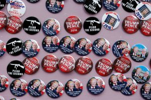 Trump support buttons are displayed on a board outside of the Republican National Convention in Cleveland, Ohio on July 18, 2016. Photo by Lucas Jackson/Reuters