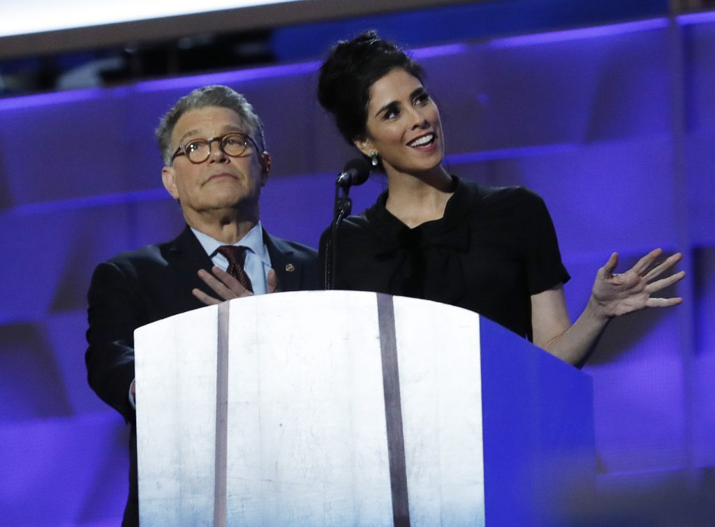 Sen. Al Franken from Minnesota and comedian Sarah Silverman speak about Hillary Clinton and party unity. Photo by Mark Kauzlarich/Reuters