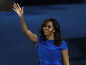 U.S. First Lady Michelle Obama waves after her speech at the Democratic National Convention in Philadelphia, Pennsylvania, U.S. July 25, 2016. REUTERS/Scott Audette