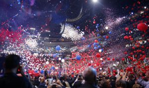 Balloons pour from the ceiling as delegates celebrate after Democratic U.S. presidential nominee Hillary Clinton accepted the nomination on the fourth and final night at the Democratic National Convention in Philadelphia, Pennsylvania, U.S. July 28, 2016. REUTERS/Carlos Barria - RTSK6T7