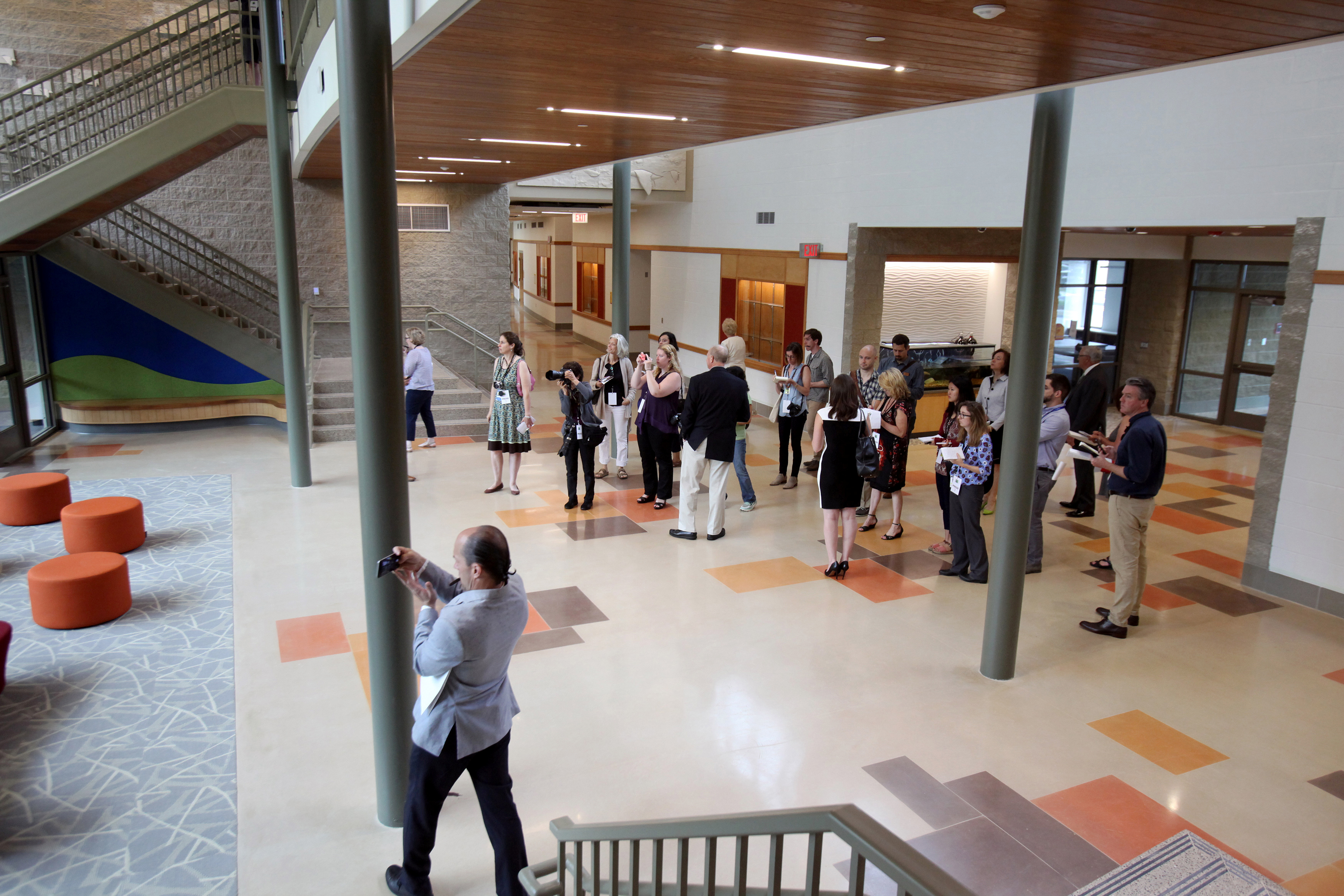 Members of the media tour the newly constructed Sandy Hook Elementary School in Newtown, Connecticut, on July 29, 2016. Photo by Michelle McLoughlin/Reuters