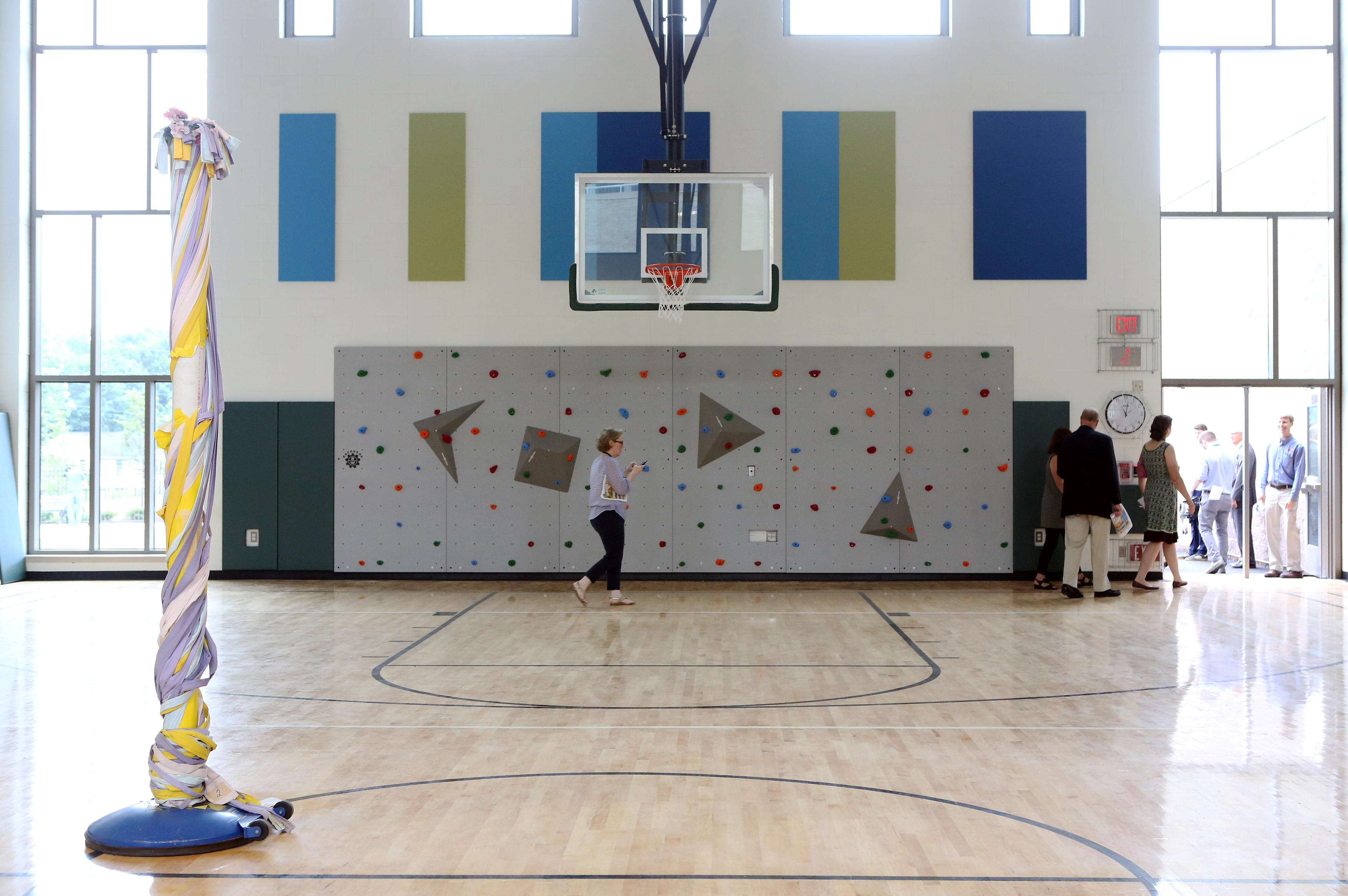 The gymnasium of the newly constructed Sandy Hook Elementary School is unveiled by officials in Newtown, Connecticut, on July 29, 2016. Photo by Michelle McLoughlin/Reuters