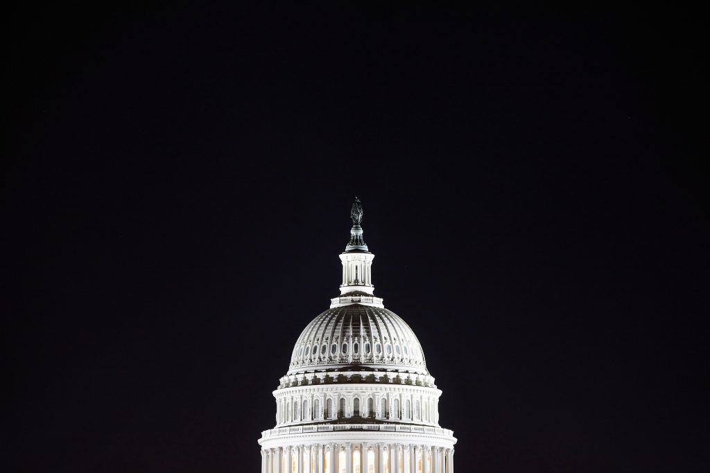 General view of the U.S. Capitol dome in the pre-dawn darkness in Washington