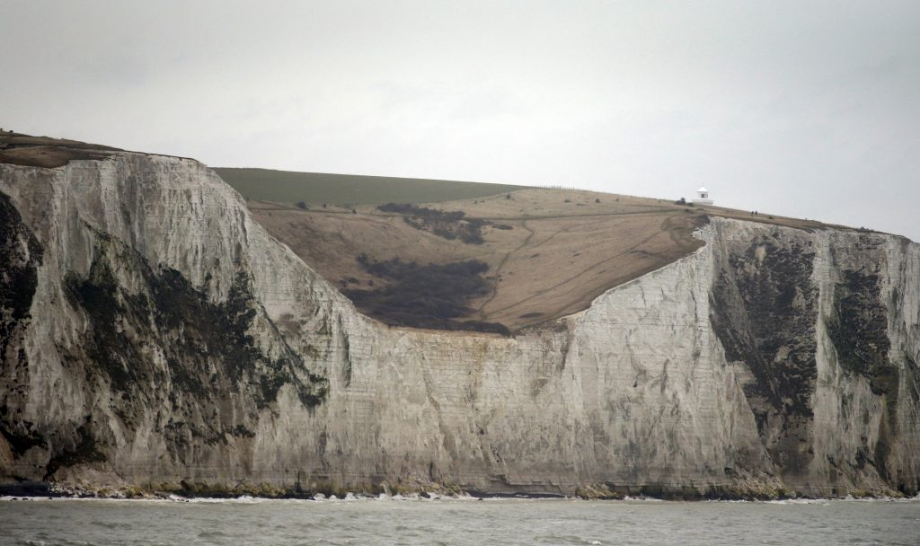 The White Cliffs of Dover in Great Britain get their white color from the calcium-carbonate skeletons of dead phytoplankton, like the Emiliania huxleyi. A loss of these skeletons from ocean acidification could change how this natural landmark appears to future generations. Photo by Phil Noble/Reuters
