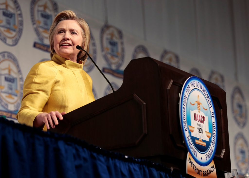 Democratic presidential candidate Hillary Clinton addresses the attendees of the 61st Annual NAACP 'Fight For Freedom Fund Dinner' in Detroit, Michigan May 1, 2016. REUTERS/Rebecca Cook - RTX2CDJ8