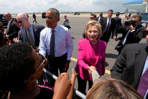 "President Barack Obama and Democratic presidential candidate Hillary Clinton greet supporters before a campaign rally in Charlotte, North Carolina on July 5. Secret Service agents intercepted two packages with ""possible explosive devices"" that were addressed to Clinton and Obama. Photo by Jonathan Ernst/Reuters"