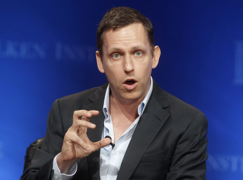 """Peter Thiel, partner of Founders Fund, speaks during the panel discussion """"In Tech We Trust? A Debate with Peter Thiel and Marc Andreessen"""" at the Milken Institute Global Conference in Beverly Hills, California April 29, 2013. Photo by Fred Prouser/REUTERS"""