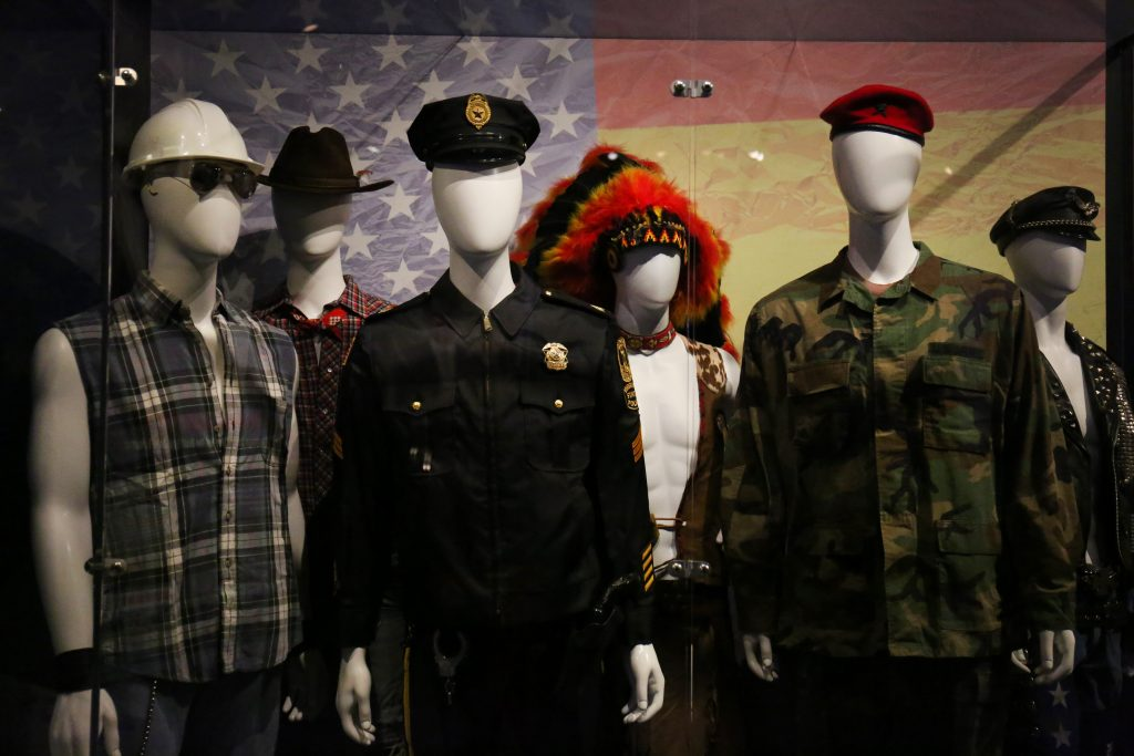Costumes from the Village People at the Rock & Roll Hall of Fame. Photo by Abbey Oldham