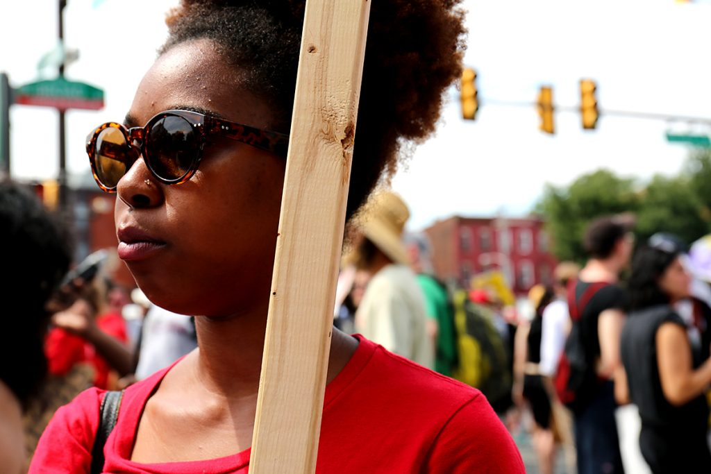 Kashara White, a member of the Socialism and Liberation Party, attends a Black Lives Matter protest in Philadelphia on Tuesday. Photo by Vanessa Dennis