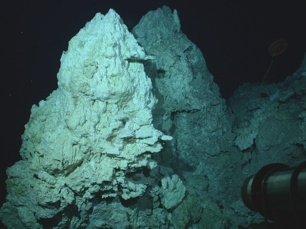 One of four pinnacles that form the summit of the 200-foot tall carbonate chimney called Poseidon in the Lost City Hydrothermal Field. Photo by NOAA