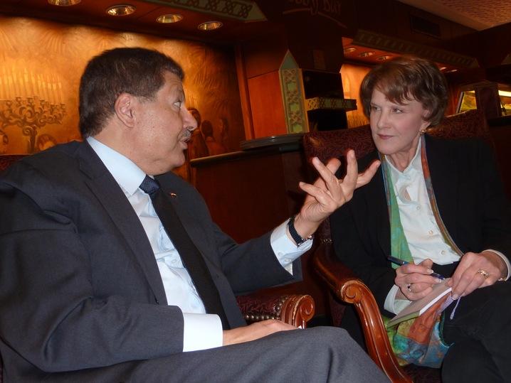 Margaret Warner with Nobel Prize-winning scientist Ahmed Zewail, 2011.