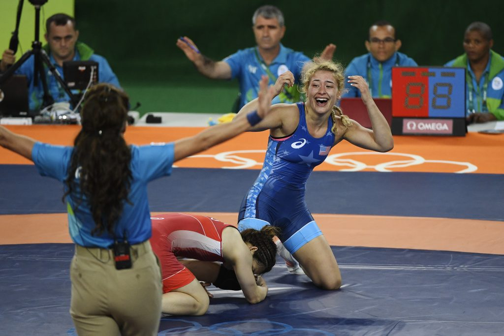 Helen Maroulis of the U.S. reacts to defeating Saori Yoshida of Japan during 53kg women's freestyle wrestling title match on Thursday. Photo by Aaron Ontiveroz/The Denver Post via Getty Images