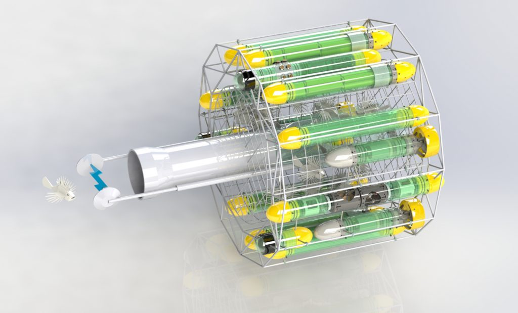 This 3D rendering of a lionfish harvester robot being developed by Robotics in Service of the Environment (RISE). The prototype would use a robot arm with two metal electrodes on the end to electrocute invasive lionfish. The stunned fish would then be collected in a central chamber for use as food. Photo by Ed Williams, Robo Nautica