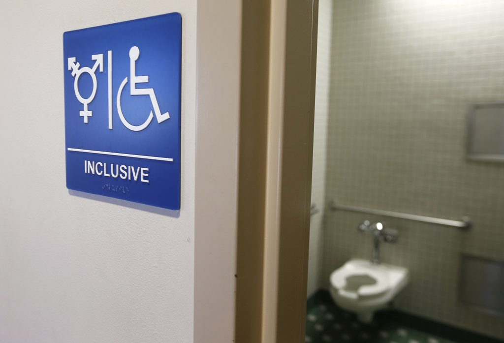 A gender-neutral bathroom is seen at the University of California, Irvine in Irvine, California. Photo by Reuters.