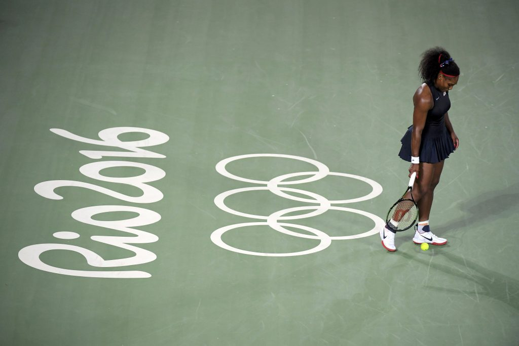 Serena Williams reacts during her match against Elina Svitolina of Ukraine. Photo by Toby Melville/Reuters