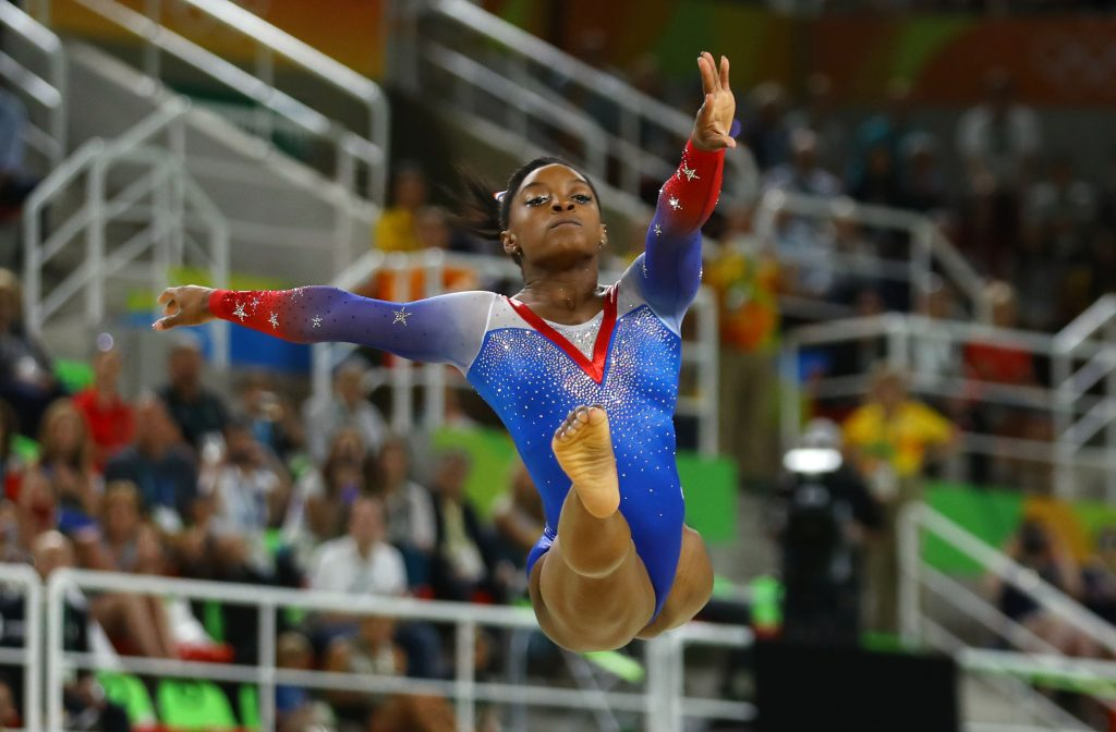 Gymnast Simone Biles of the U.S. wins gold in the floor exercise at Tuesday's Olympic Games. Photo by Mike Blake/Reuters