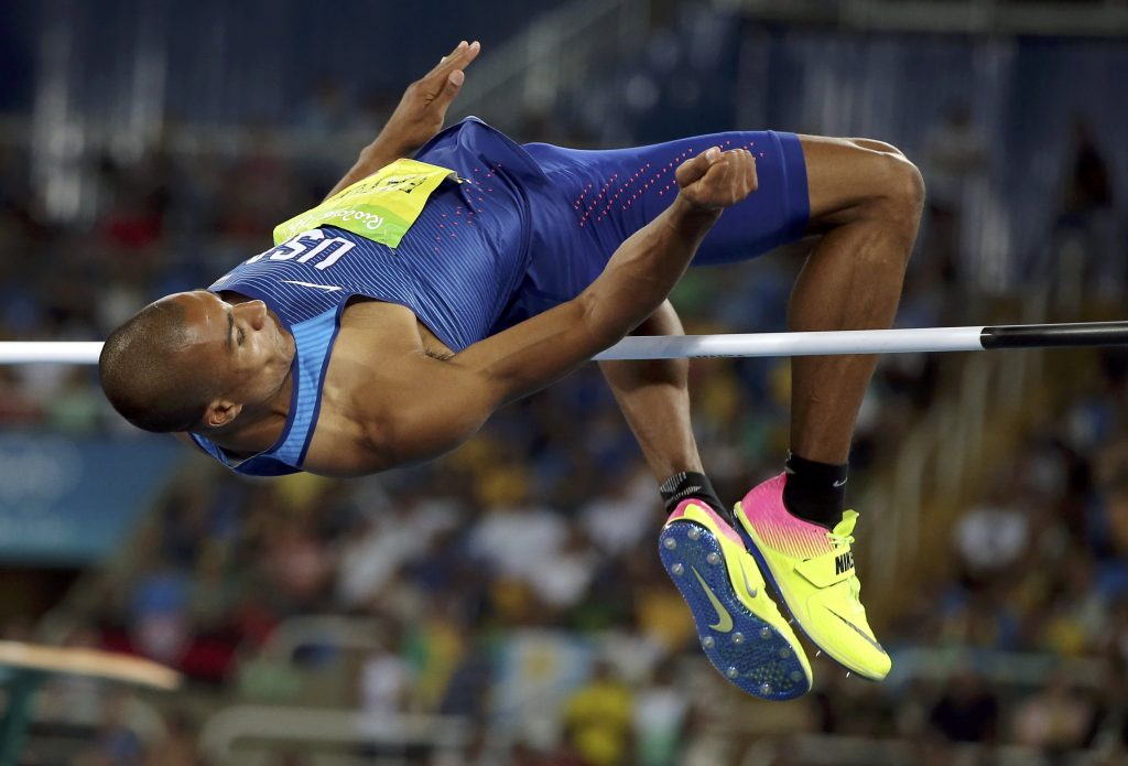 Ashton Eaton competes in the high jump on day one of the decathlon. Photo by Gonzalo Fuentes/Reuters